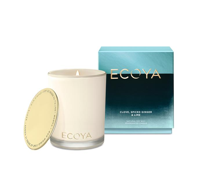 "Ecoya Madison Jar candle in Clove, Spiced Ginger and Lime, $44.95, [Ecoya](https://www.ecoya.com.au/collections/christmas/products/clove-spiced-ginger-lime-madison-jar|target=""_blank""