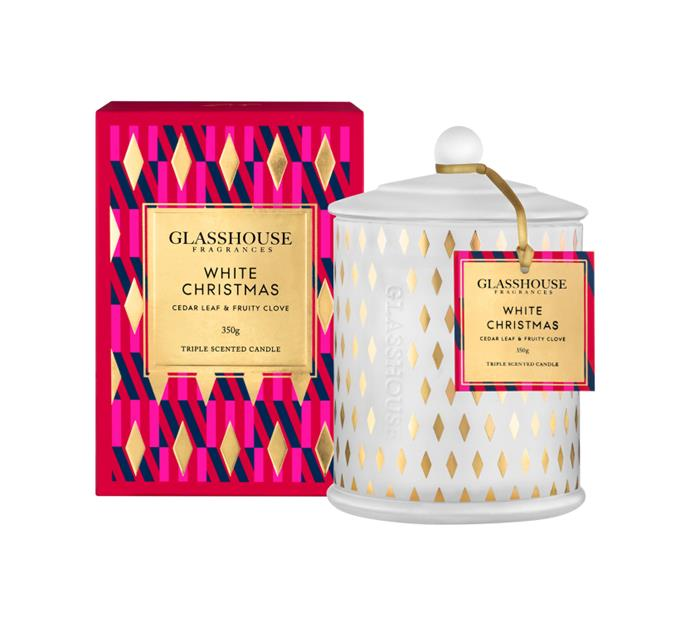 "White Christmas 2018 (Cedar leaf & Fruity Clove), $ 46.95, [Glasshouse Fragrances](https://www.glasshousefragrances.com/candles/350g/white-christmas-2018-cedar-leaf-fruity-clove|target=""_blank""