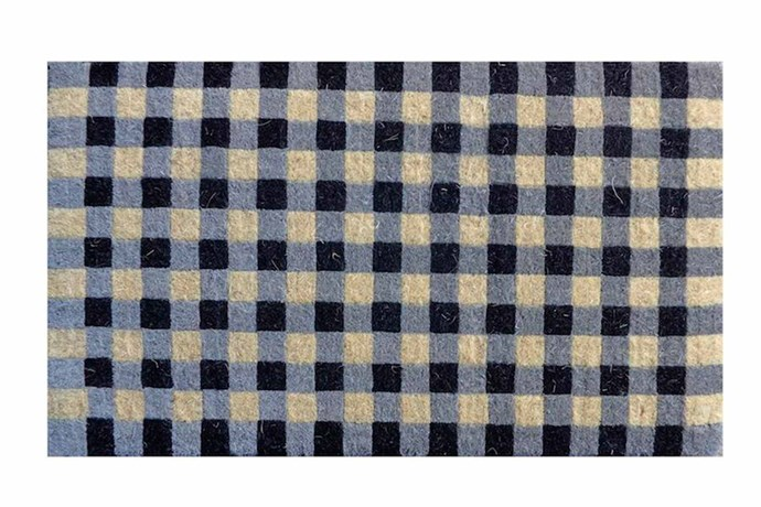 "Gingham doormat, $85, [The Lost And Found Department](https://www.thelostandfounddepartment.com.au/|target=""_blank""