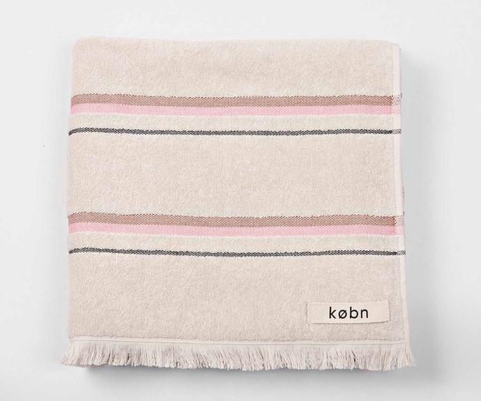 "'Sand' beach towel, $69.95, [Købn](https://kobn.com.au/|target=""_blank""|rel=""nofollow"")."