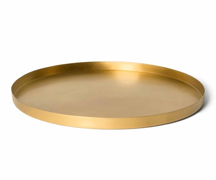 "Brushed brass tray, $132, [Lightly](https://www.lightly.com.au/|target=""_blank""|rel=""nofollow"")."