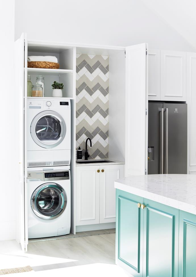 Positioning your laundry right next to the kitchen allows you to easily chuck on a load while your cooking dinner as well as do away with dirty tea towels in a flash.