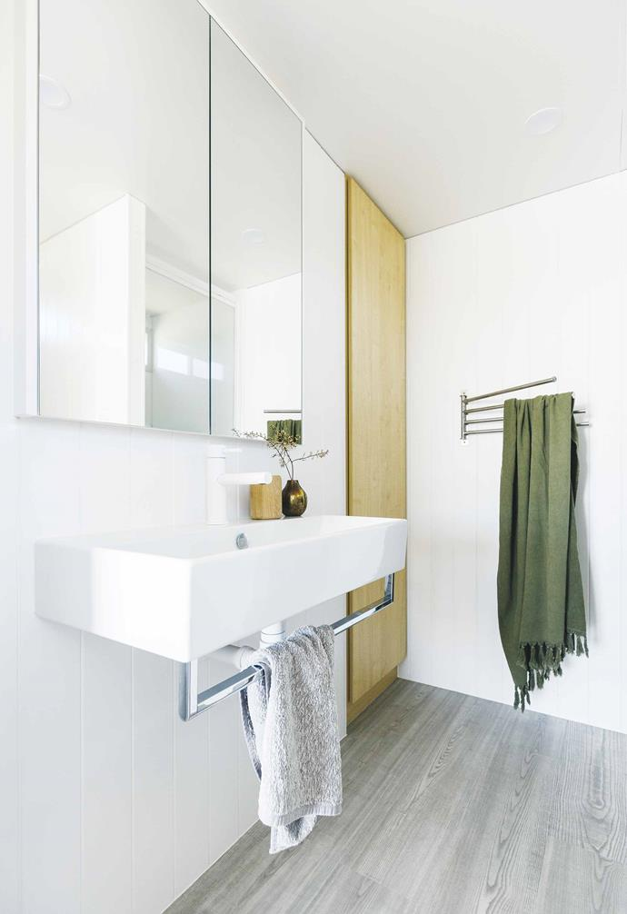 "**Bathroom** A frameless mirror cabinet and wide wall-hung basin from [Rogerseller](https://www.rogerseller.com.au/|target=""_blank""