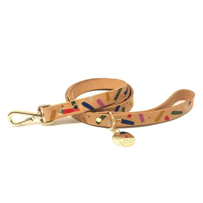 """Jungle Confetti leather dog leash, $59, [Nice Digs](https://www.nicedigs.com.au/collections/all-products/products/jungle-confetti-leather-dog-leash