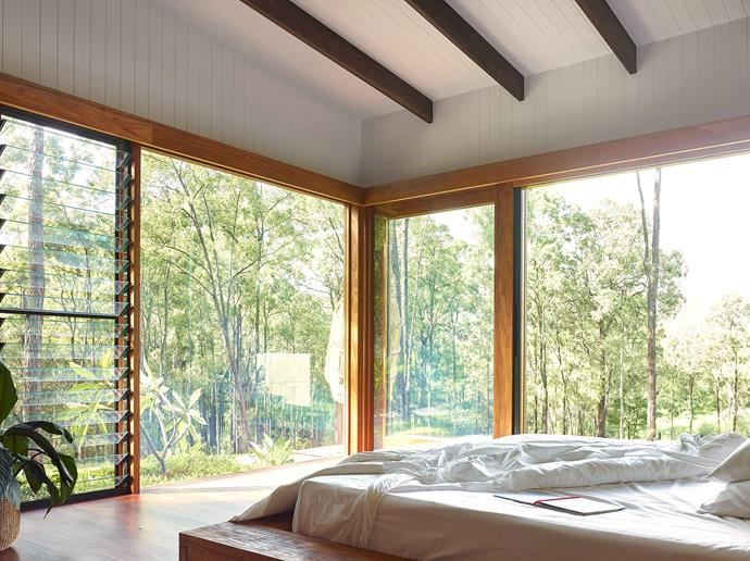 """Natural light and fresh air flood into Lee and Lee-Anne's bedroom. """"We wanted to create a safe haven to sleep in, because that's when your body does its rejuvenating,"""" says Lee-Anne. The bed has a non-toxic latex mattress and Global Organic Textile Standard (GOTS) certified linen from [Elkie & Ark](https://www.elkieark.com/ target=""""_blank"""" rel=""""nofollow"""")."""