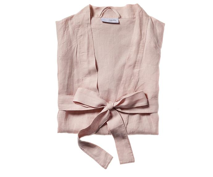 "Home Republic vintage washed linen bath robe, $59.99, [Adairs](https://www.adairs.com.au/|target=""_blank""|rel=""nofollow"")."