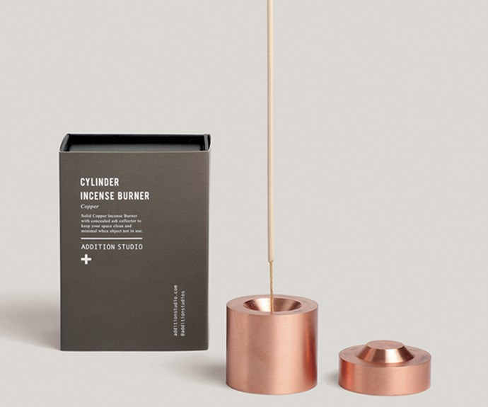 "Addition Studio 'Cylinder' incense burner, $149.90, [Top3 By Design](http://top3.com.au/|target=""_blank""