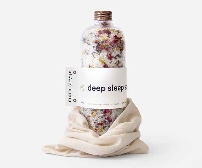 "'Deep Sleep' bath soak, $54.99/500g, [More Sleep Co](https://moresleep.co/|target=""_blank""