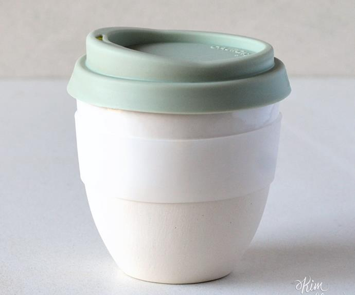 "Ceramic takeaway cup, $48, [Kim Wallace Ceramics](https://kwceramics.com.au/|target=""_blank""|rel=""nofollow"")."