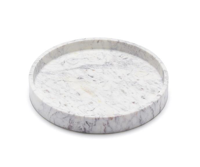 "'Big Basic Round' tray, $275, [Marble Basics](https://www.marblebasics.com.au/|target=""_blank""|rel=""nofollow"")."