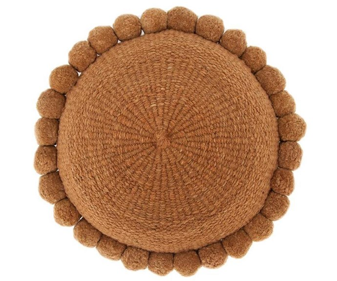 "'Monte' pompom cushion, $195, [Pampa](https://pampa.com.au/|target=""_blank""