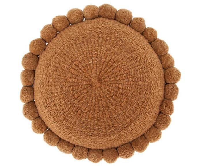 "'Monte' pompom cushion, $195, [Pampa](https://pampa.com.au/|target=""_blank""|rel=""nofollow"")."