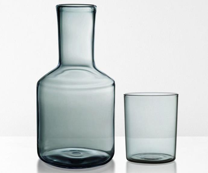 "'S' carafe and glass, $79/set, [Maison Balzac](https://www.maisonbalzac.com/|target=""_blank""|rel=""nofollow"")."