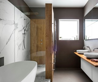 marble and timber bathroom