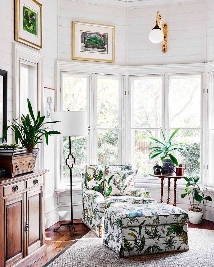 """The sunlit sitting room in a gothic-inspired extension at the rear of the manse is Lucie's favourite room. A chaise and ottoman are upholstered in Schumacher Les Fougeres fabric from [Grant Dorman Interior Products](https://www.grantdorman.com.au/