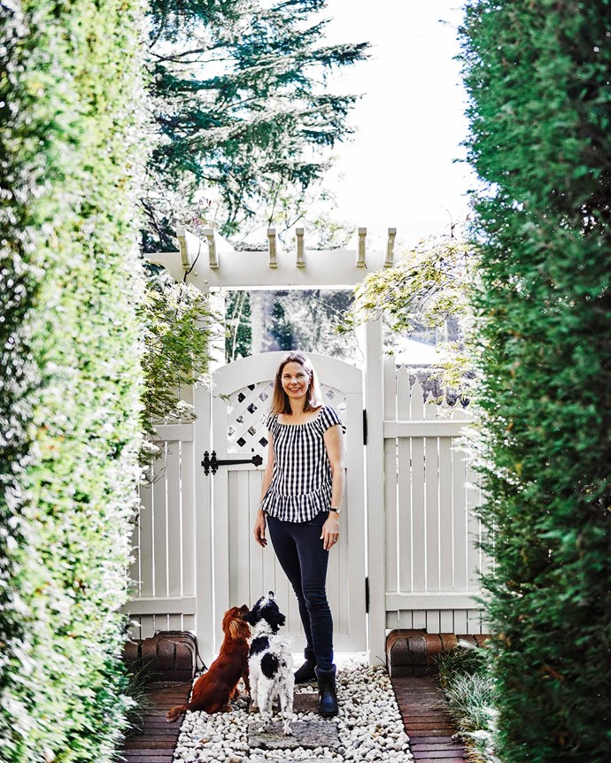 Lucie with Pippy the cavalier King Charles spaniel puppy and Pedro the Maltese poodle. | *Photography: Lisa Cohen | Styling: Tess Newman-Morris*