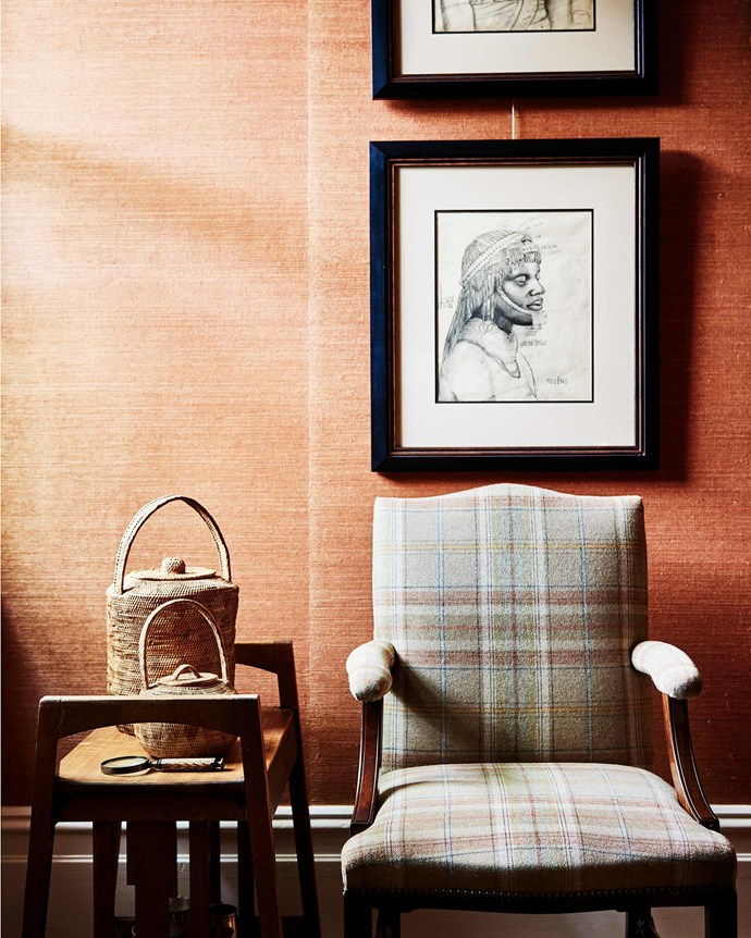 Duncan's study shows off sketches by Dame Eileen Mayo from a trip to South Africa in the 1930s. | *Photography: Lisa Cohen | Styling: Tess Newman-Morris*