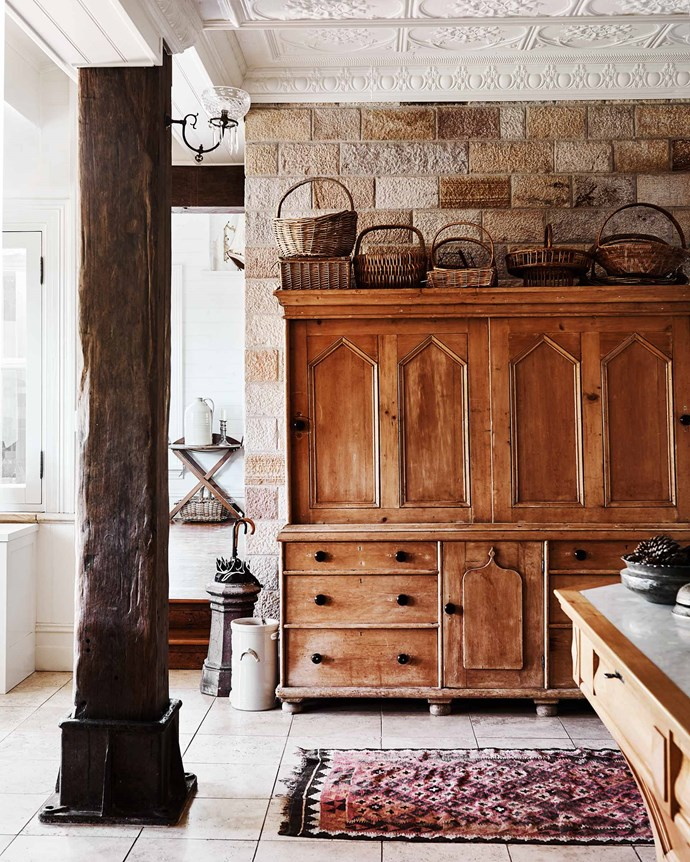The kitchen dresser reflects the home's ecclesiastical origins — it was purchased from the previous owner as it was too big to move.| *Photography: Lisa Cohen | Styling: Tess Newman-Morris*