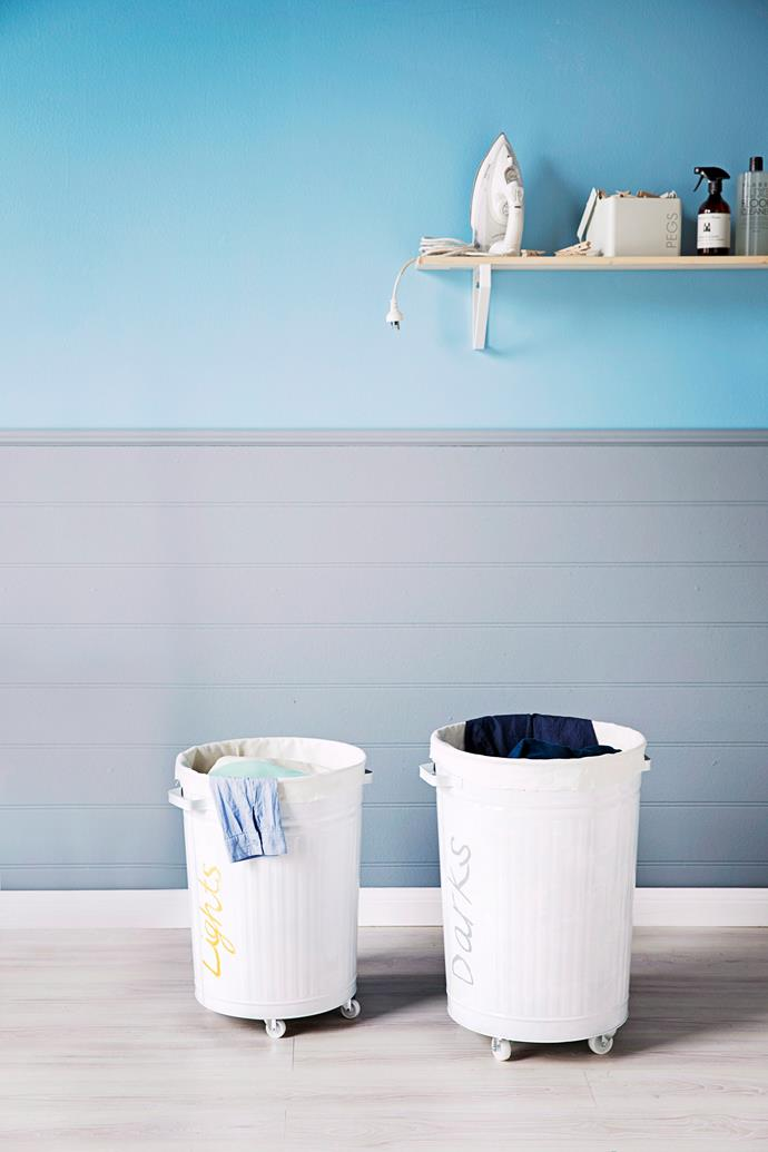 Designated washing baskets for whites and darks will not only save you time but save you from sorting through dirty laundry. Photo: James Henry / *bauersyndication.com.au*