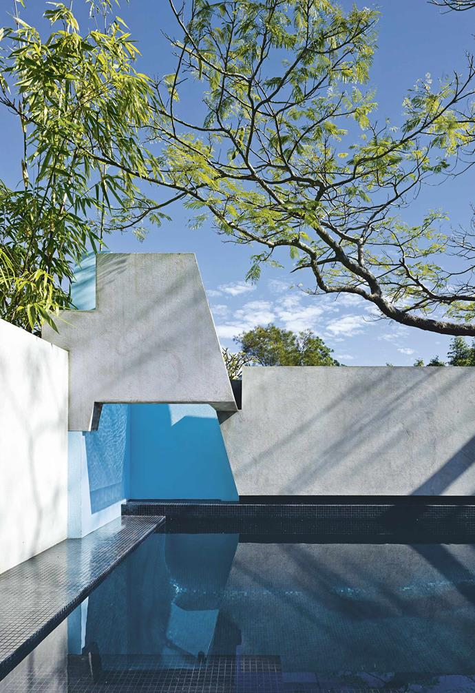 **Pool** Bookending the garden, the jacaranda-shaded pool features masonry detailing at its corner inspired by the work of Italian architect Carlo Scarpa.