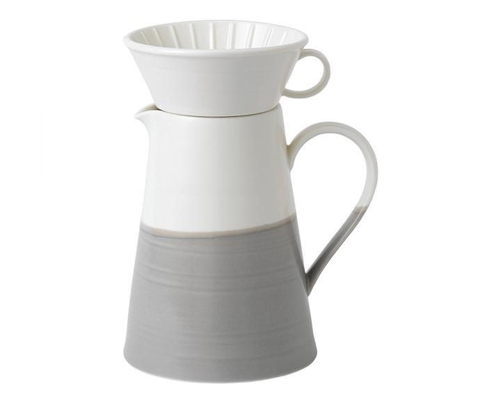 "[Royal Doulton Coffee Jug and Dripper set](https://www.royaldoulton.com.au/coffee-studio-pour-over-jug-set-1.2l.html?gclid=CjwKCAiAuMTfBRAcEiwAV4SDkUij-h522ma5QsS9lU5k-BF842YJrvlPoSVp5UiN6Gk0lAP-wTGHBxoCJ9EQAvD_BwE|target=""_blank""