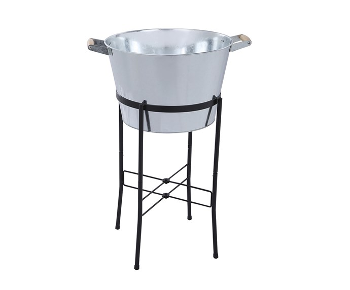 "[K-Mart Galvanised Tub with Stand](https://www.kmart.com.au/product/galvanised-tub-with-stand/2263466?&gclid=CjwKCAiAuMTfBRAcEiwAV4SDkfe9ei2W3OOq0ZmTzJVQvBd7A_2vXjYIOAcA3U2EkxBjTd-CZ2drYxoCy8sQAvD_BwE&gclsrc=aw.ds|target=""_blank""