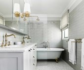 An elegant update transformed this family-friendly bathroom