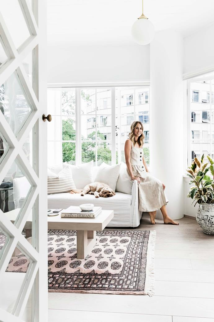 "We just love the simplicity of white linen against washed-out timber floors,"" says homeowner Kate Bucceri. The walls throughout have been painted [Dulux Lexicon Quarter](https://www.homestolove.com.au/dulux-white-paint-colours-5396