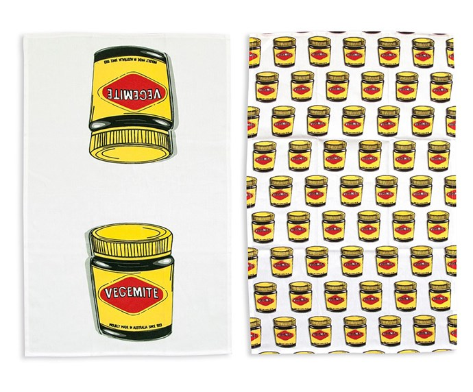 "Salt & Pepper Vegemite Tea Towel, $24.95 at [David Jones](https://www.davidjones.com/Product/22258218?istCompanyId=466a8370-6b00-4f27-87e1-ca6839e80dd6&istItemId=-qmamqrpil&istBid=t&gclid=CjwKCAiAuMTfBRAcEiwAV4SDkdzhfaumJb-CGO5sYSJ_y7fgt7IF_vL9kOJ3QAkVuC-o49LR4OwzrhoCq7EQAvD_BwE&gclsrc=aw.ds|target=""_blank""