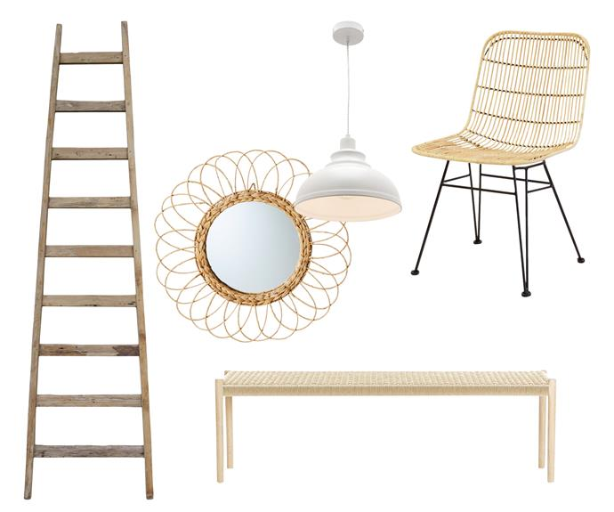"**Rustic charm** Create a vintage farmhouse feel with pieces in natural timber. **Get the look** (clockwise left to right) Teak ladder, $299, [HK Living](http://hkliving.com.au/|target=""_blank""