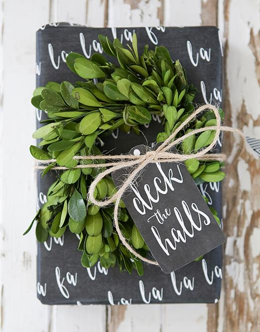 "**Black and white wonder** - Inspired by writing on a chalkboard, you can get this rustic style [wrapping paper](https://www.homestolove.com.au/crafty-gift-wrapping-ideas-for-christmas-6131|target=""_blank"") from [Ella Claire Inspired](http://www.ellaclaireinspired.com/chalkboard-wrapping-paper-gift-tags/ 
