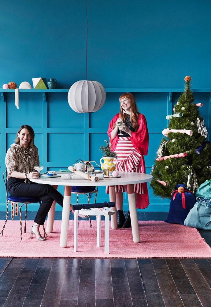"**Rachel and Rachel** Rachel Castle and Rachel Burke joined stylist Megan Morton to share their top tips and tricks for creating a [DIY Christmas](https://www.homestolove.com.au/a-beginners-guide-to-a-diy-christmas-18213|target=""_blank"").<br><br>**Get the look**: *Made By Hand 'Knit Wit 45' pendant light, $1100, Fred International. 'PBS' dining table, $1700, Koskela. **On table**: Champagne glass, $22, and tumbler, $16, Williams Sonoma. Teapot, $120, Water Tiger. Yellow vase with original artwork by Bonnie Ashley, POA, Bonnie And Neil. wedese 'Spin' stool, $860, Fred International.*"