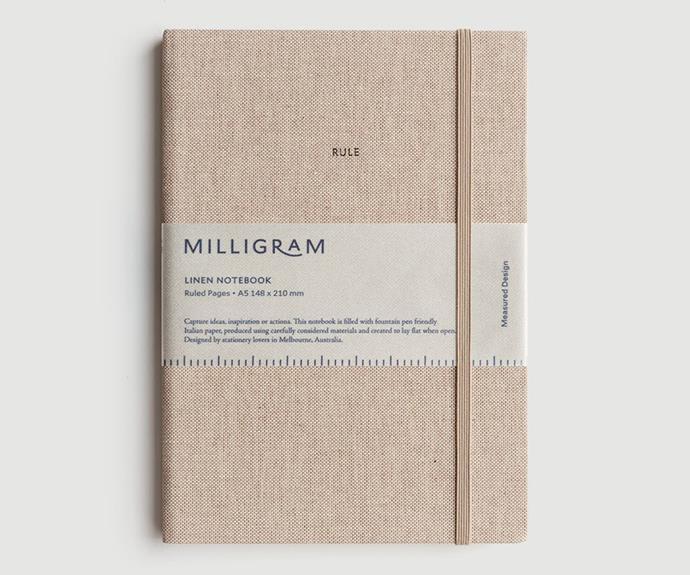 "Linen notebook, $39.95, [Milligram](https://milligram.com/ target=""_blank"" rel=""nofollow"")."