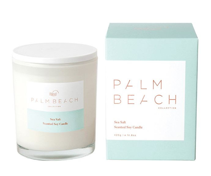 "'Sea Salt' standard candle, $39.95, [Palm Beach Collection](https://palmbeachcollection.com.au/|target=""_blank""|rel=""nofollow"")"