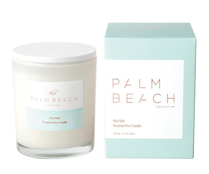 "'Sea Salt' standard candle, $39.95, [Palm Beach Collection](https://palmbeachcollection.com.au/ target=""_blank"" rel=""nofollow"")"