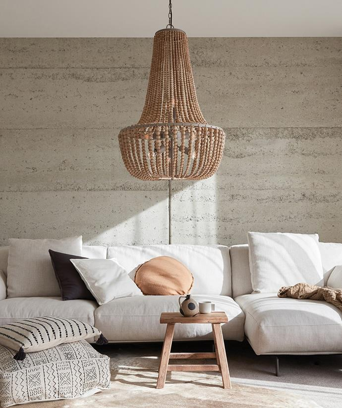 The addition of this statement shade elevates the organic style of this nesting area. *Image / supplied*
