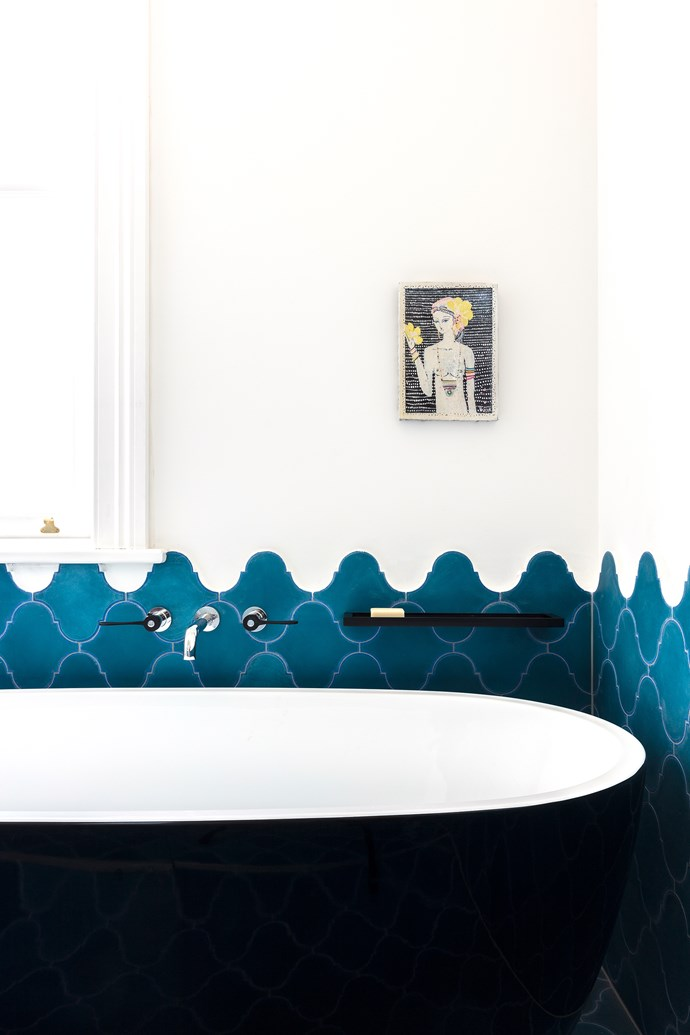 "Encaustic-cement tiles in cobalt blue from [Terranova](http://teranova.com.au/product/arabesque-blue|target=""_blank""