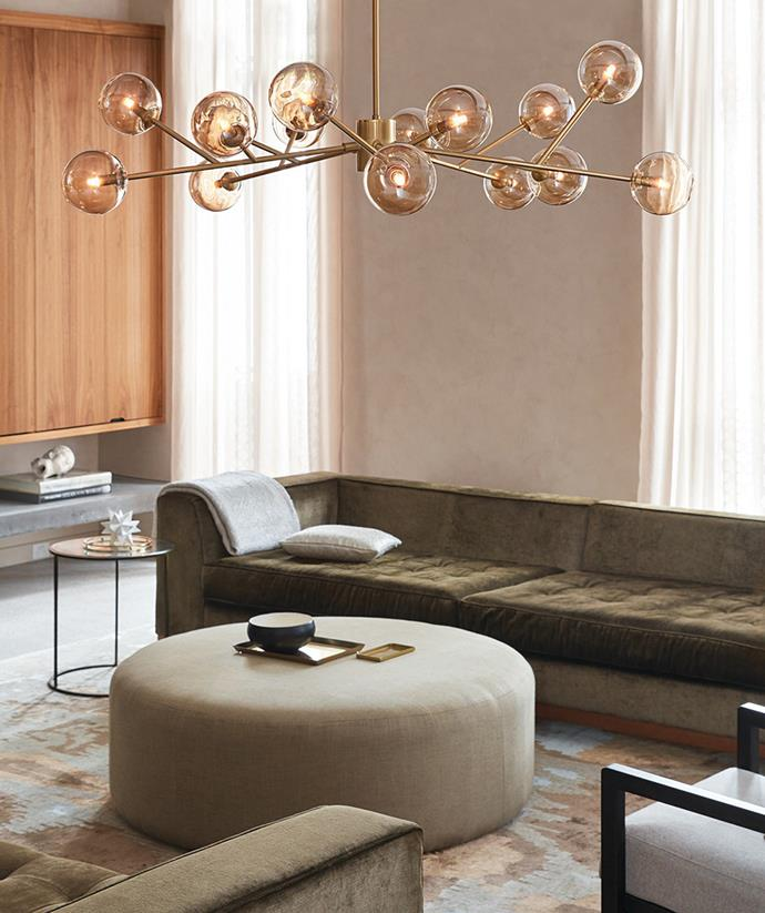 Elegant and opulent, this hanging pendant lamp creates mood lighting in the living space. *Image / supplied*