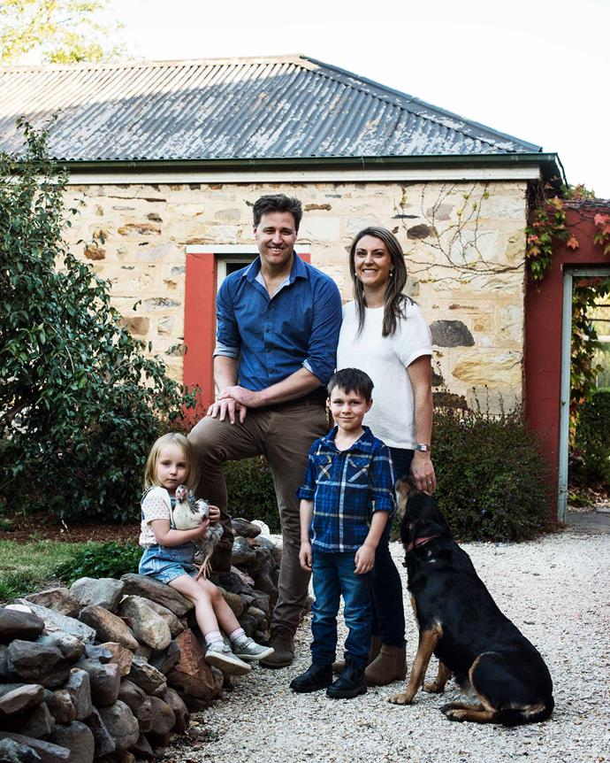 Henry, Lauren, Jack and Amelia, with Roxy, a purebred Huntaway and Nellie, a hand-raised chicken (who turned out to be a rooster). | *Photography: Brigid Arnott | Styling: Kristen Wilson*