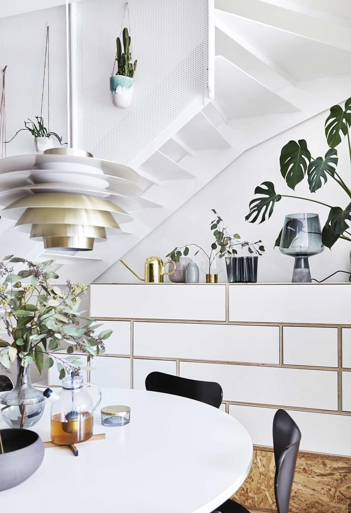 "**Materiality** The [mostly-white interior](https://www.homestolove.com.au/relaxed-all-white-byron-bay-home-with-upcycled-details-19266|target=""_blank"") features accents of brass and timber to add depth."