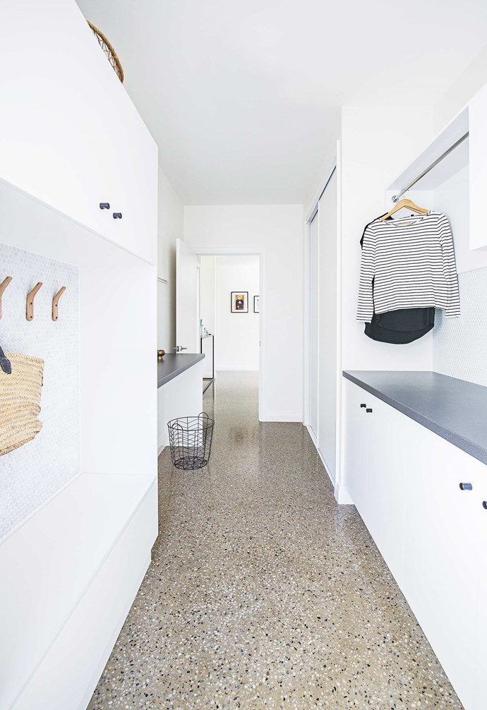 "**Details** ""Our laundry is also a mudroom where items like schoolbags can be stored, which keeps our front entrance neat and inviting,"" says Lucy of Cato Constructions. *Design: [Cato Constructions](http://www.catoconstructions.com.au/