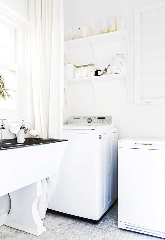 """**Details** The all-white interior plays with a mix of textures to add depth. Tumble dryer, [Asko](http://www.asko.com.au/