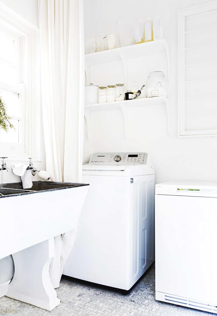"**Details** The all-white interior plays with a mix of textures to add depth. Tumble dryer, [Asko](http://www.asko.com.au/|target=""_blank""