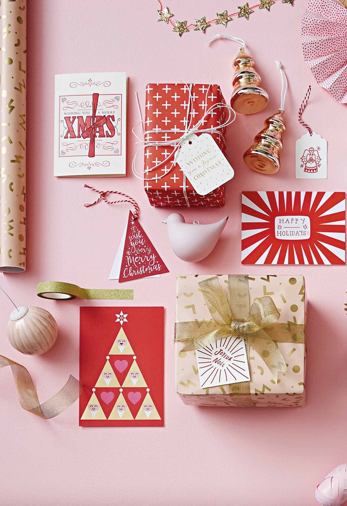 """**Colour twist** This sweet interpretation of the traditional red and gold looks stunning underneath the Christmas tree. Steal some inspiration from these [gift wrapping ideas](https://www.homestolove.com.au/christmas-gift-wrapping-ideas-13162