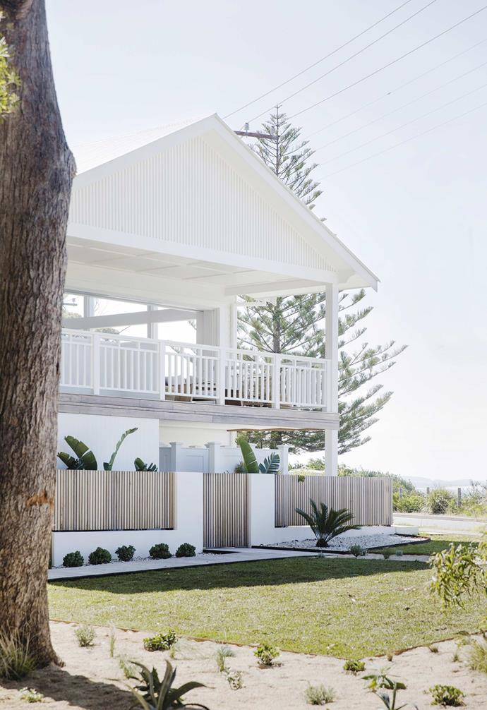 "**Exterior** The slimline spotted gum fence is one of the key details of the exterior, designed down to the millimetre in CAD by Lauren's brother, builder Kain Bliss. The exterior was painted in [Taubmans](https://www.taubmans.com.au/homeowners|target=""_blank""