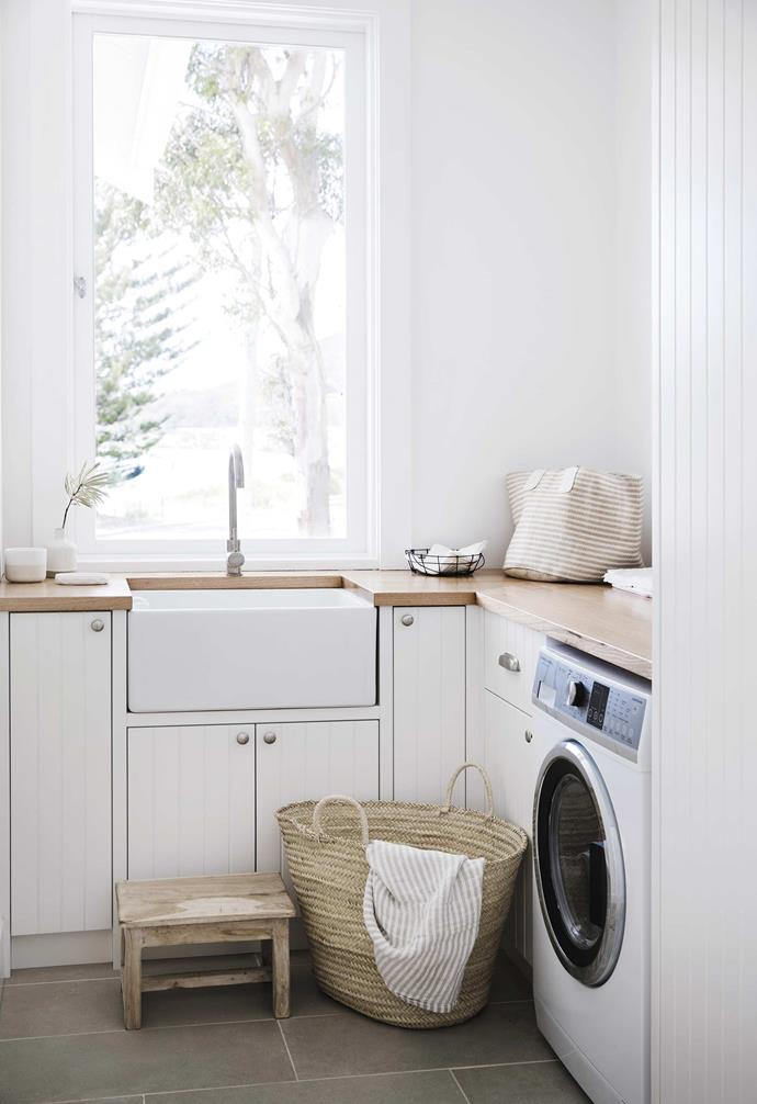 "**Laundry** ""We contemplated a cupboard laundry,"" says Lauren, ""but when you work out the space required, it made more sense to us to contain it in its own room. That way when the clothes pile up, they can be shut away inside."" They installed a [Fisher & Paykel](https://www.fisherpaykel.com/au.html
