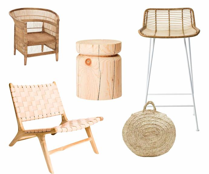 "**Back to nature** Bring a touch of the great outdoors indoors with natural wood and rattan statement pieces. **Get the look** (clockwise left to right) 'Malawi' armchair, $590, [MCM House](https://mcmhouse.com/|target=""_blank""