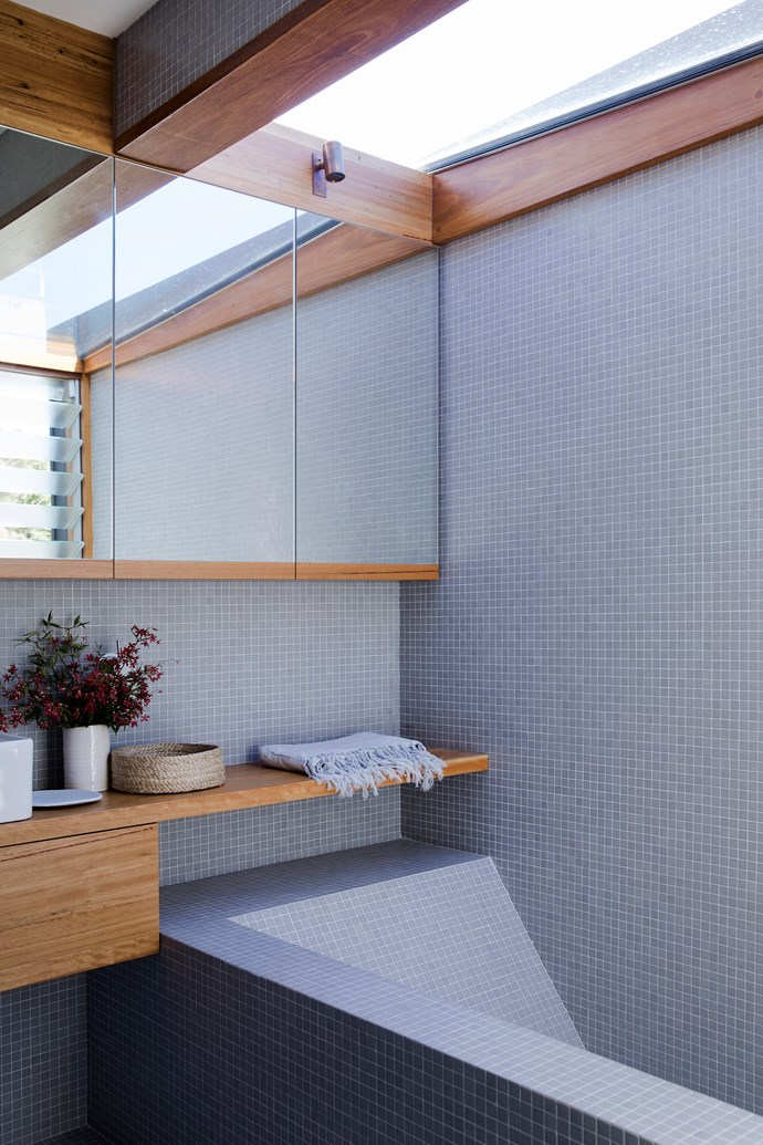 In the ensuite, the bath is made from formed concrete.