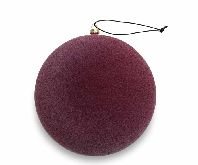 Nordstjerne 'Burgundy Velvety Sphere' ornament, $27, Nordic Rooms, as before.