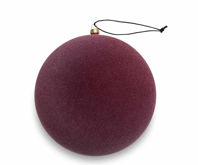 Nordstjerne 'Burgundy Velvety Sphere' ornament, $27, Nordic Rooms, as before.